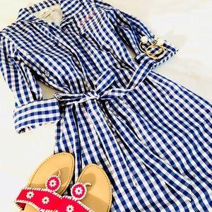 Vineyard Vines Blue Gingham Fishing Shirt Dress